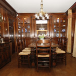 A dining room in cherrywood