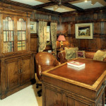 The panelled study - The cabinet conceals a computer and home office. As well as the panelling, the old Bylaw team had made the cabinet containing a complete home office and the desk and chair.