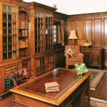 Integrated Pepys style bookcases as part of a panelled study in Yorkshire